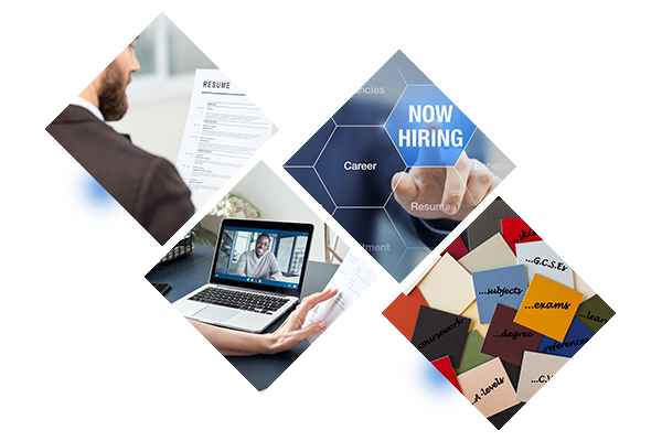 Four diamond pictures offset, one with man looking at resume, one with a video conference call on laptop, one with hand pushing Now Hiring 3D illustration and the last with assorted sticky notes.